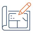 Icône conception et design de bureaux