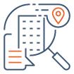Icône recherche de bureaux et location de bail