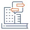 Icone illustrant la cession acquisition de biens immobiliers d'entreprise