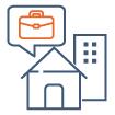 icone représentant la démarche commerciale pour vendre ou louer des biens immobiliers